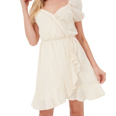 Elegant Pastel Ruffle Hem Casual Dress